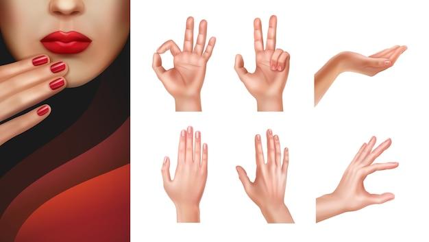 Conjunto de diferentes manos mostrando gestos y uñas cuidadas.
