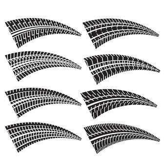 Conjunto de diferentes marcas de impresión de neumáticos.