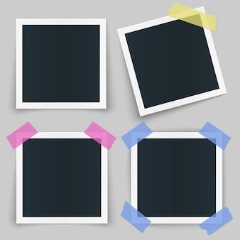 Conjunto de diferentes marcos de fotos con cinta de color y sombra aislado sobre fondo transparente.