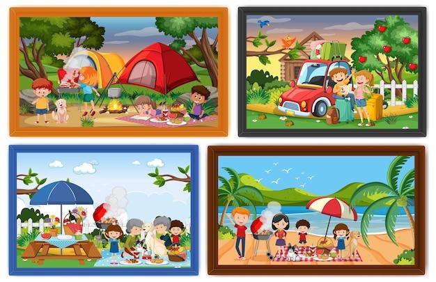 Conjunto de diferentes marcos de fotos familiares.