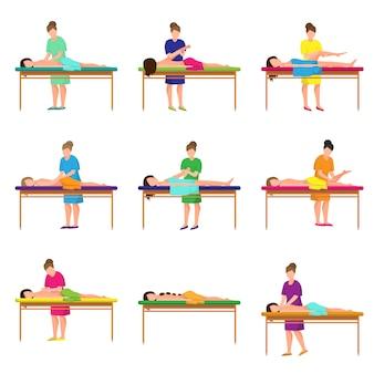 Conjunto de diferentes masajes en el estudio de la ciudad en cama suave