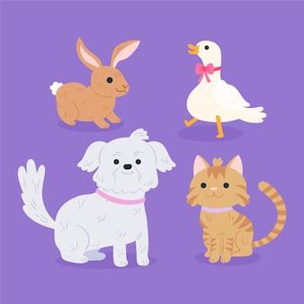 Conjunto de diferentes mascotas domesticas