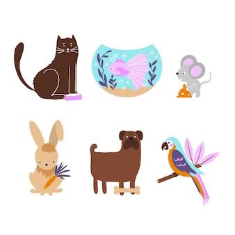 Conjunto de diferentes mascotas