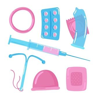 Conjunto de diferentes métodos anticonceptivos.