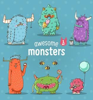Conjunto de diferentes monstruos de divertidos dibujos animados
