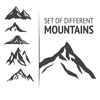 Conjunto de diferentes montañas, ilustración vectorial