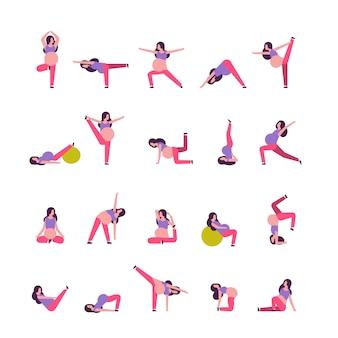 Conjunto de diferentes mujeres embarazadas haciendo ejercicios de yoga