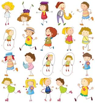 Conjunto de diferentes niños en estilo doodle