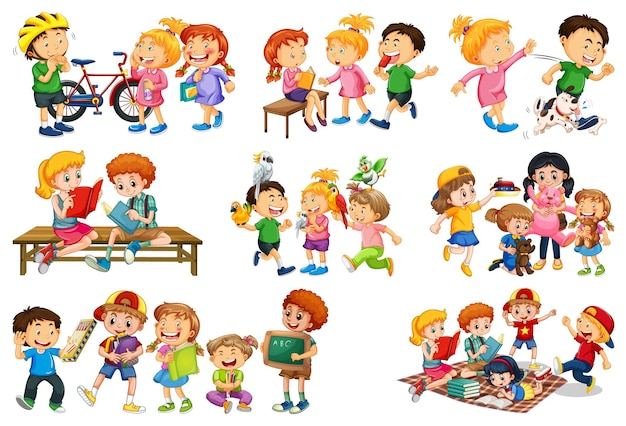 Conjunto de diferentes niños jugando con su personaje de dibujos animados de juguetes aislado sobre fondo blanco.