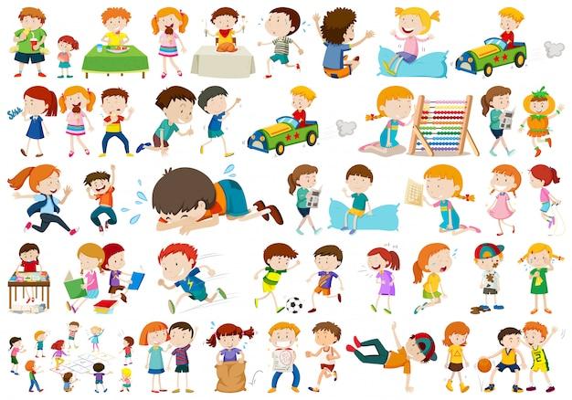 Conjunto de diferentes niños