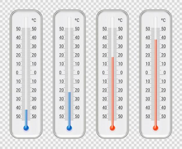 Conjunto de diferentes niveles de termómetros meteorológicos