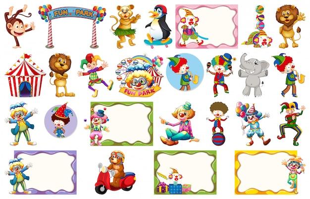 Conjunto de diferentes objetos de circo, animales y cuadros.