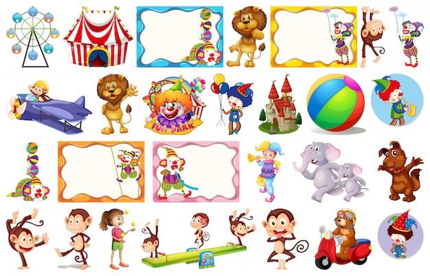 Conjunto de diferentes objetos de circo.
