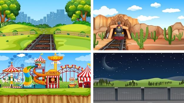 Conjunto de diferentes paisajes de fondo.