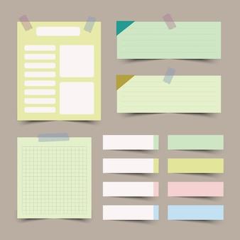 Conjunto de diferentes papeles de nota aislado
