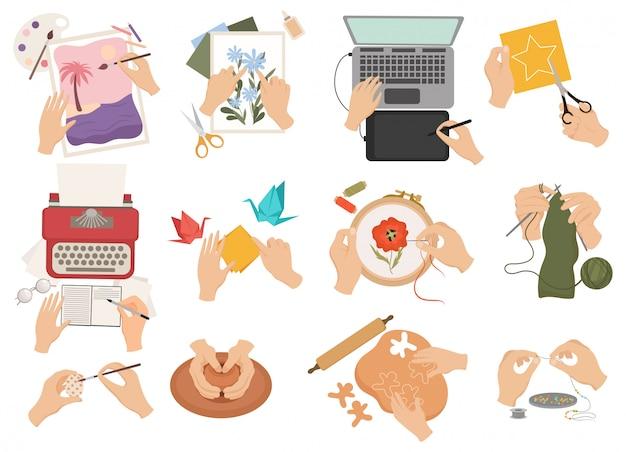 Conjunto de diferentes pasatiempos hechos a mano. colección de manos humanas dedicadas a la creatividad vista superior.
