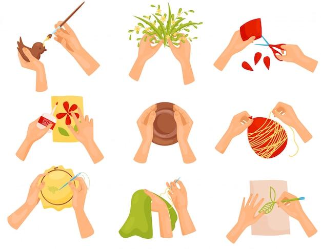 Conjunto de diferentes pasatiempos. pintar, recortar, coser. manos humanas haciendo diversas manualidades