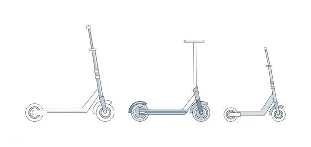 Conjunto de diferentes patinetes, ruedas urbanas, dispositivos de transporte personal, vehículos ecológicos.