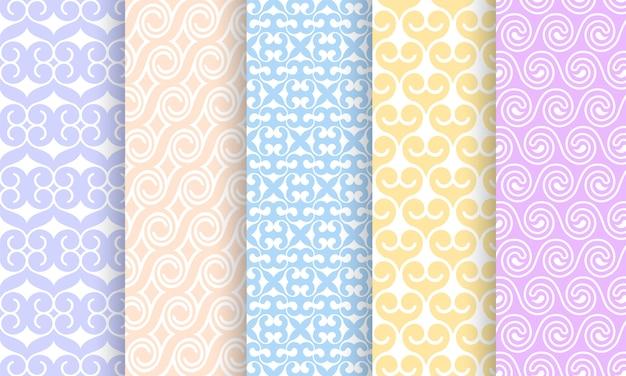 Conjunto de diferentes patrones sin costuras pálidas.