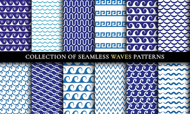 Conjunto de diferentes patrones de ondas inconsútiles. diseño aqua