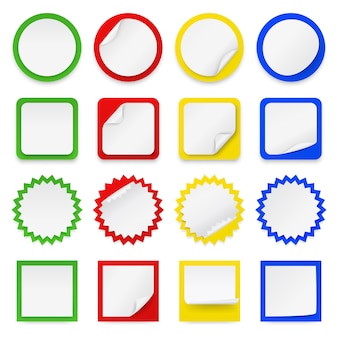 Conjunto de diferentes pegatinas en blanco