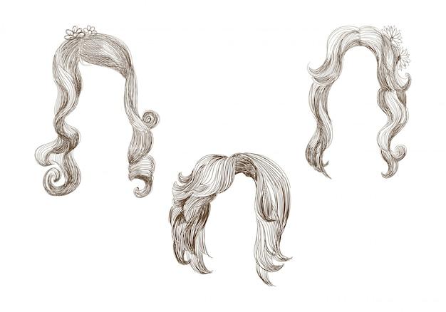 Conjunto de diferentes pelos y boceto de dibujo de peinado