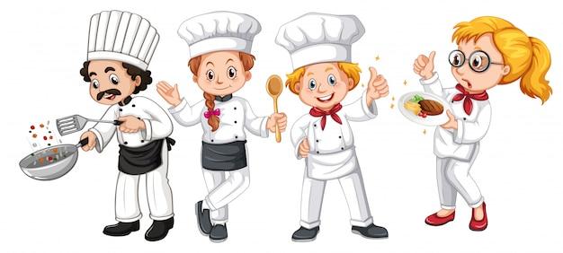 Conjunto de diferentes personajes de cocinero.