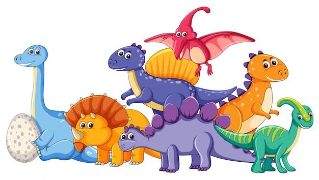 Conjunto de diferentes personajes de dinosaurios.