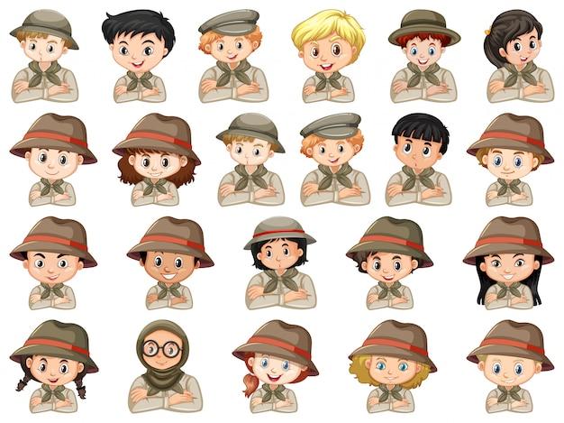 Conjunto de diferentes personajes de disfraz de scout para niños y niñas.