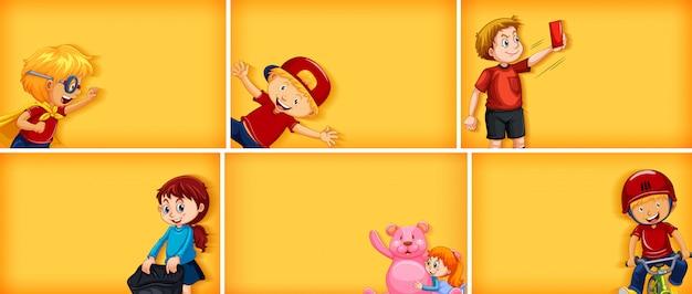 Conjunto de diferentes personajes infantiles sobre fondo de color amarillo