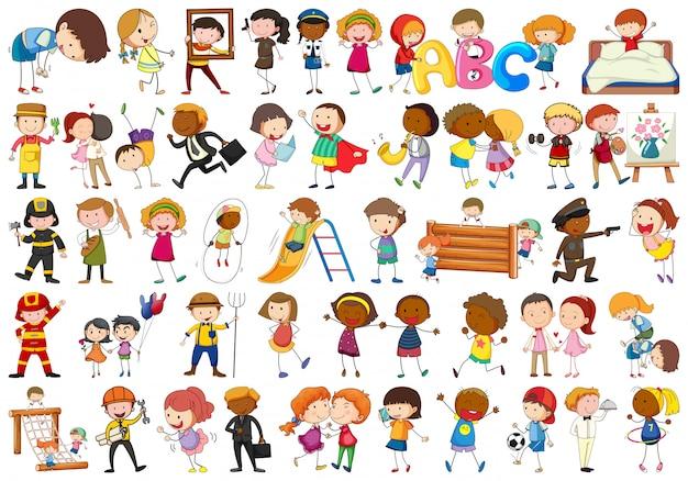 Conjunto de diferentes personajes sencillos.