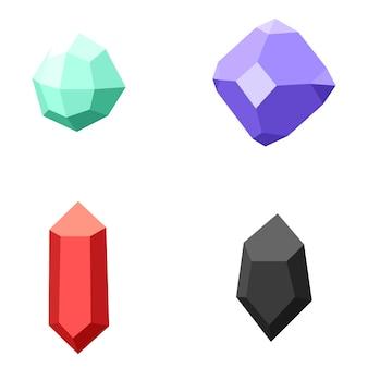 Conjunto de diferentes piedras preciosas, diamantes en blanco
