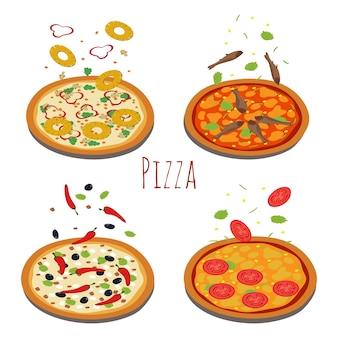 Conjunto de diferentes pizzas con ingredientes que caen.