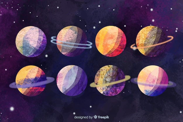Conjunto de diferentes planetas acuarela