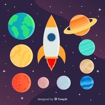 Conjunto de diferentes planetas y pegatinas de cohetes