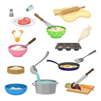 Conjunto de diferentes procesos de cocción. ilustración.