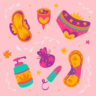 Conjunto de diferentes productos de higiene femenina.