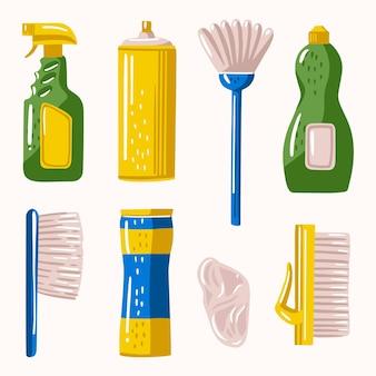 Conjunto de diferentes productos de limpieza de superficies.