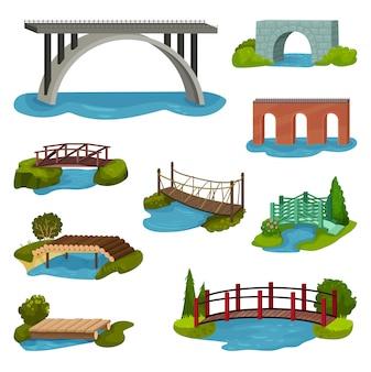 Conjunto de diferentes puentes. pasarelas de madera, metal, ladrillo y piedra. construcciones para ciudad, patio y parque.