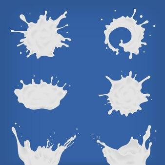 Conjunto de diferentes salpicaduras de leche realista y verter. manchas blancas, gotas de colección de varias formas. ilustración sobre fondo azul.
