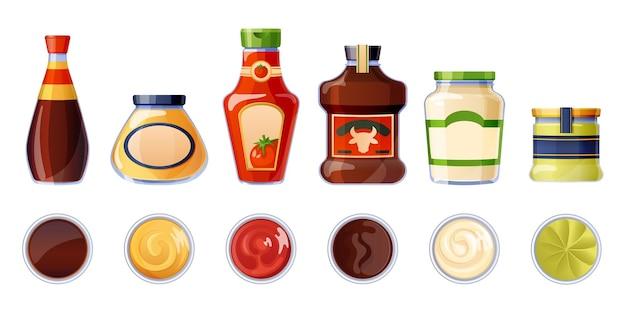 Conjunto de diferentes salsas en botellas y tazones.