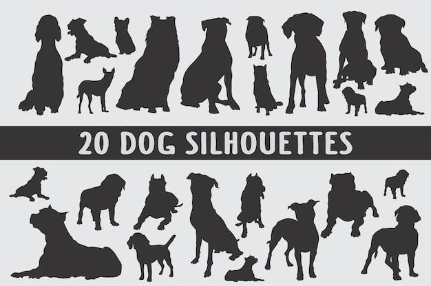 Conjunto de diferentes siluetas de perros
