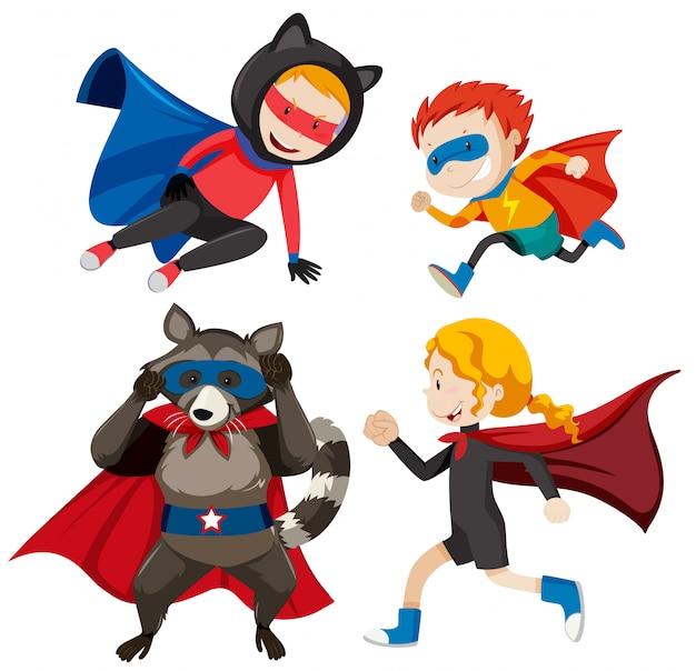 Conjunto de diferentes super héroes.