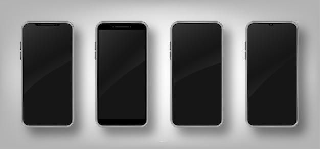 Conjunto de diferentes teléfonos inteligentes realistas. marco de teléfono móvil con pantalla negra en blanco.