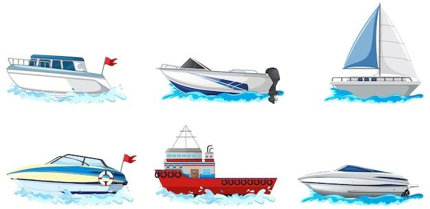 Conjunto de diferentes tipos de barcos y barcos aislado sobre fondo blanco.
