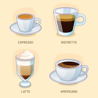 Conjunto de diferentes tipos de café delicioso.