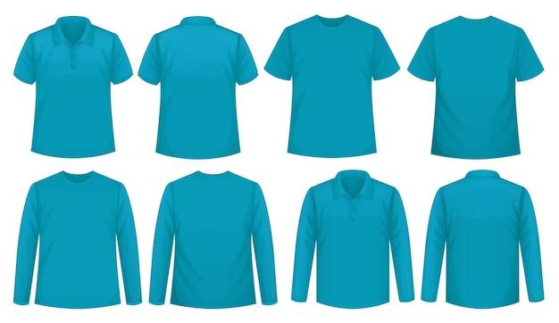Conjunto de diferentes tipos de camiseta del mismo color.