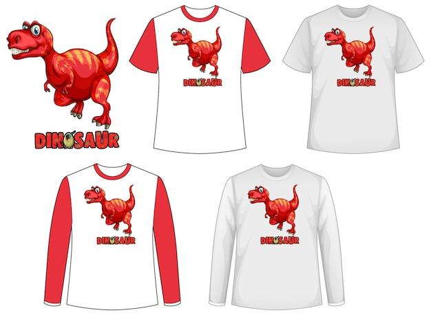 Conjunto de diferentes tipos de camiseta en tema dinosaurio con logo de dinosaurio