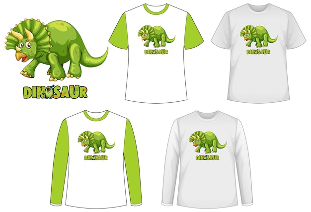 Conjunto de diferentes tipos de camiseta en tema de dinosaurios con dibujos animados de dinosaurios