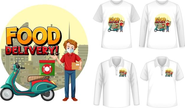 Conjunto de diferentes tipos de camisetas con dibujos animados de entrega de comida
